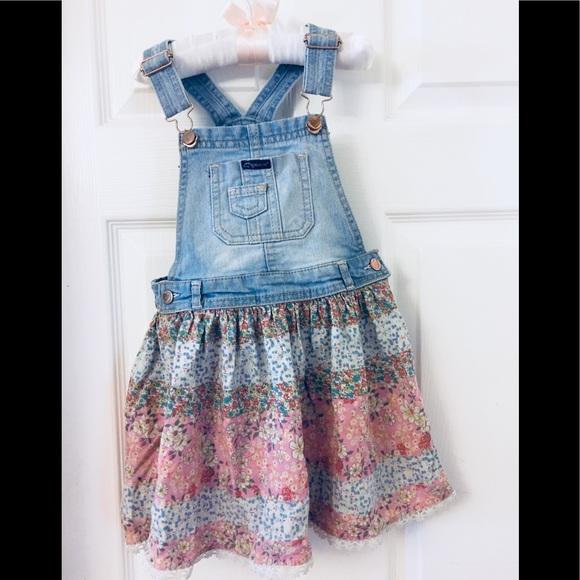 JORDACHE Girls Children/'s Denim Overall Dress beautiful Blue print skirt